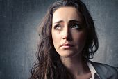 image of young women  - Portrait of a young sad woman crying - JPG