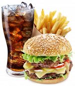 Hamburger, potato fries, cola drink. Takeaway food. File contains clipping paths.