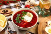 Traditional russian and ukrainian borscht soup