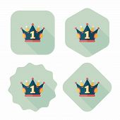 Champion Crown Flat Icon With Long Shadow,eps10