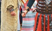 pic of handcuffed  - roman soldier and handcuffed  prisoner - JPG