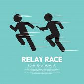 stock photo of relay  - Relay Race Black Symbol Vector Illustration - JPG