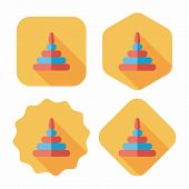 Pyramid Toy Flat Icon With Long Shadow,eps10