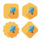 Kite Flat Icon With Long Shadow,eps10