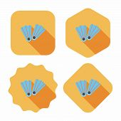 stock photo of flipper  - Flippers For Diving Flat Icon With Long Shadow - JPG