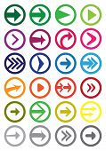 Round Arrow Vector Icon Set Isolated On White
