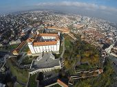Aerial viev on Bratislava and its castle.