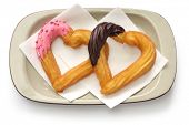 image of churros  - homemade heart shape churro - JPG