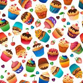Super cupcake seamless pattern. Chocolate and vanilla desserts