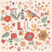 Bright card with beautiful name Lily in poppy flowers, bees and butterflies. Awesome female name design in bright colors. Tremendous vector background for fabulous designs