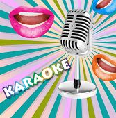 Retro microphone and open mouths with bright lipstick on color retro background, Karaoke concept