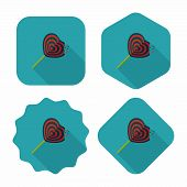 Valentine's Day Lollipop Flat Icon With Long Shadow,eps10
