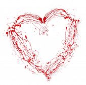Heart made of red paint splashes isolated on white