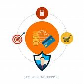 Set of flat design concept icons for secure online shopping.