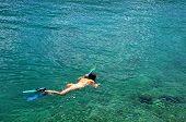 Woman Snorkeling At Phi Phi Island, Phuket, Thailand