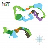 Abstract vector color map of Panama with transparent paint effect.