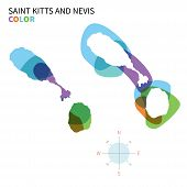 Abstract vector color map of Saint Kitts and Nevis with transparent paint effect.