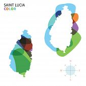 Abstract vector color map of Saint Lucia with transparent paint effect.