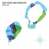 Abstract vector color map of Sao Tome and Principe with transparent paint effect.