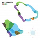 Abstract vector color map of Saudi Arabia with transparent paint effect.
