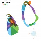Abstract vector color map of Sri Lanka with transparent paint effect.