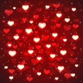 Red Background With Blurry Hearts