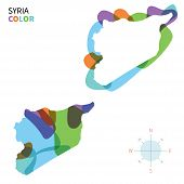 Abstract vector color map of Syria with transparent paint effect.