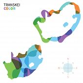 Abstract vector color map of Transkei with transparent paint effect.
