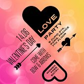 St. Valentine Day Typography Lettering Design Invitation Card.  Vector illustration Valentine's day of Love Poster Template. Heart, arrow icons.