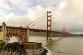 pic of bridge  - The famous San Francisco Golden Gate Bridge in California United States of America - JPG