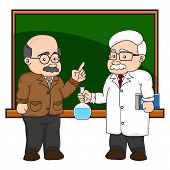 Illustration Of A Chemistry Or Scientist At A Chalkboard.