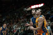 VALENCIA, SPAIN - JANUARY 24: Aguilar (R) during Spanish League match between Valencia Basket Club and UCAM Murcia at Fonteta Stadium on January 24, 2015 in Valencia, Spain