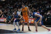 VALENCIA, SPAIN - JANUARY 24: Aguilar (34) during Spanish League match between Valencia Basket Club and UCAM Murcia at Fonteta Stadium on January 24, 2015 in Valencia, Spain