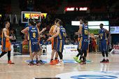 VALENCIA, SPAIN - JANUARY 24: All players during Spanish League match between Valencia Basket Club and UCAM Murcia at Fonteta Stadium on January 24, 2015 in Valencia, Spain