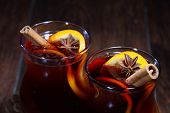 Mulled Wine With An Orange, Honey, Cinnamon, A Carnation And An Anise