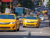 Fifth avenue yellow cab taxi 5 th Av New York Manhattan USA