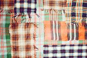 image of transverse  - background multicolored old wool blanket stitched cell - JPG