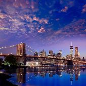 Brooklyn Bridge sunset New York Manhattan skyline NY NYC USA