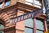 stock photo of broadway  - Broadway Street sign in Soho Manhattan New York city USA - JPG