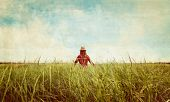 Hipster Girl Walking On Summer Meadow, Vintage Image