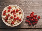Curd With Ripe Fresh Raspberries
