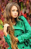 Beautiful woman with long curly hair portrait, autumn outdoor.