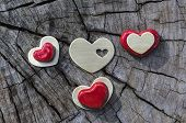 Red And Gold Hearts On Wood