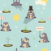 foto of groundhog day  - Seamless pattern for Grounghog Day - JPG