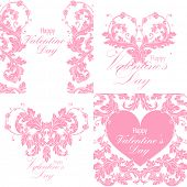 Set of valentines day greeting cards with baroque floral ornament. Gentle vintage design. Vector illustration.