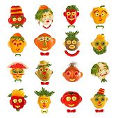 Creative Set Of Food Concepts. A Few  Funny Portraits From Vegetables And Fruits.