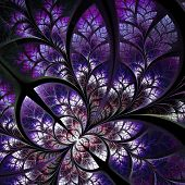 Fabulous Fractal Pattern In Purple. Collection - Tree Foliage. Computer Generated Graphics.