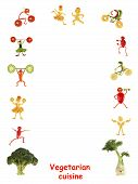 Vegetarian Cuisine. Little Funny People Made Of Vegetables And Fruits - Frame.