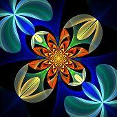Diagonal Symmetrical Pattern Of The Flower Petals. Blue And Orange Palette. On Black Background. Com