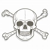 image of skull cross bones  - Classic cross bones and skull in format very easy to edit - JPG